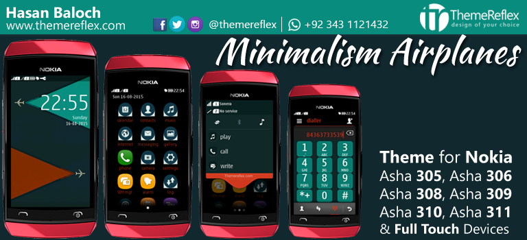 Minimalism Airplanes Theme for Nokia Asha 305, Asha 306, Asha 308, Asha 309, Asha 310, Asha 311 & Full Touch Devices