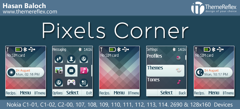 Pixels Corner Live Theme for Nokia C1-01, C1-02, C2-00, 107, 108, 109, 110 & 128×160 Devices