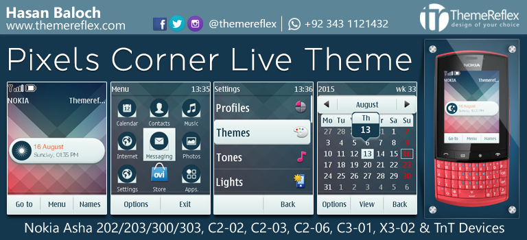 Pixels Corner Live Theme for Nokia Asha 202, Asha 203, Asha 300, Asha 303, C2-02, C2-03, C2-06, C3-01, X3-02 and Touch & Type Devices