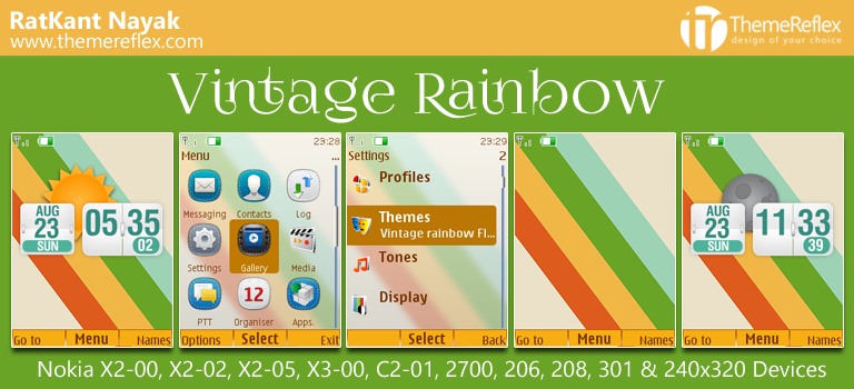 Vintage Rainbow Live Theme for Nokia X2-00, X2-02, X3-00, C2-01, 206, 208, 302 & 240×320 Devices [Updated]