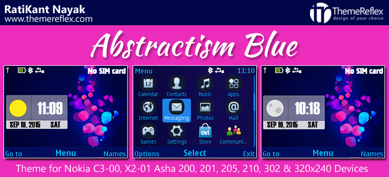 Absractism Blue Live Theme for Nokia C3-00, X2-01, Asha 200, 201, 205, 210, 302 & 320×240