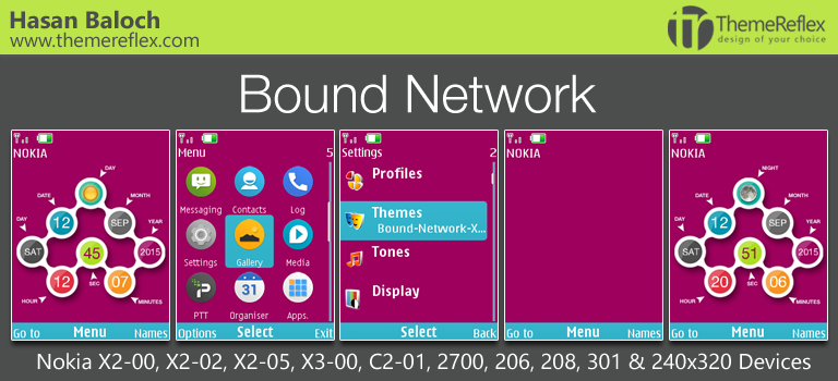 Bound Network Live Theme for Nokia X2-00, C2-01, 206, 208, 301 & 240×320 Devices