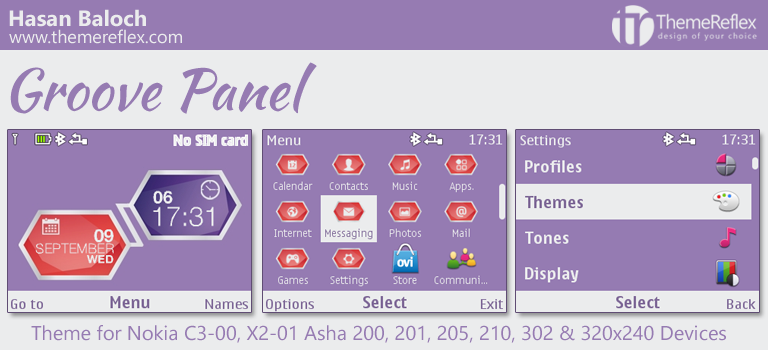 Groove Panel Theme for Nokia C3-00, X2-01, Asha 200, 201, 205, 210, 302 & 320×240 Devices