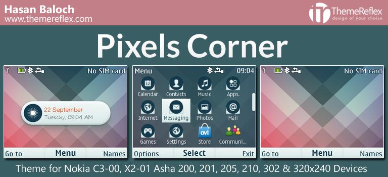 Pixels Corner Live Theme for Nokia C3-00, X2-01, Asha 200, 201, 205, 210, 302 & 320×240