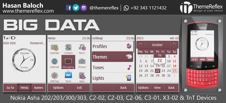 Big Data Theme for Nokia Asha 202 / 203 / 300 / 303, C2-02, C2-03, C2-06, X3-02 and Touch & Type