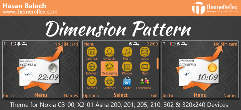 Dimension Pattern Live Theme for Nokia C3-00, X2-01, Asha 200, 201, 205, 210, 302 & 320×240