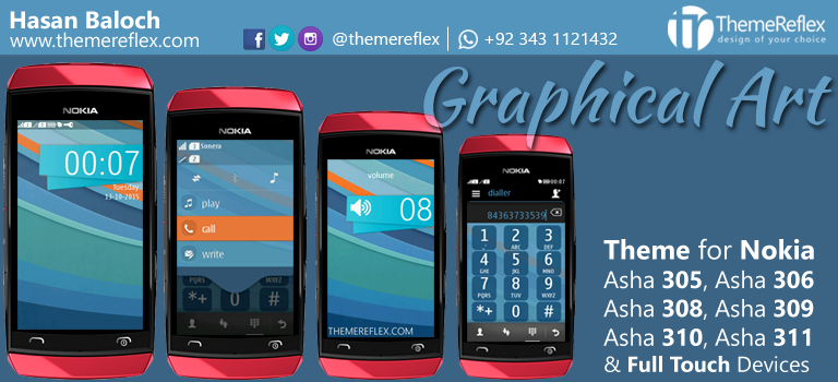 Graphical Art Theme for Nokia Asha 305, Asha 306, Asha 308, Asha 309, Asha 310, Asha 311