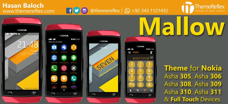 Mallow Theme for Nokia Asha 305, Asha 306, Asha 308, Asha 309, Asha 310, Asha 311