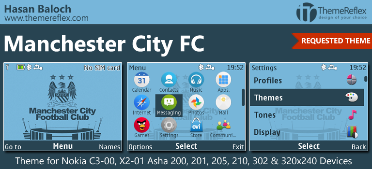 Manchester City FC Theme for Nokia C3-00, X2-01, Asha 200, 201, 205, 210, 302 & 320×240