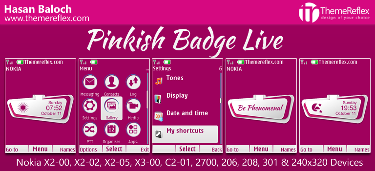 Pinkish Badge Live Theme for Nokia X2-00, C2-01, 206, 308, 301 & 240×320 Devices