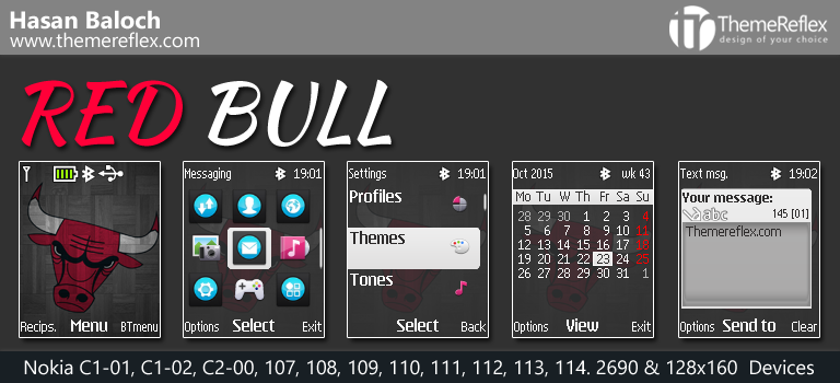 Red Bull Theme for Nokia C1-01, C1-02, C2-00, 107, 108, 109, 110, 113, 2690 & 128×160