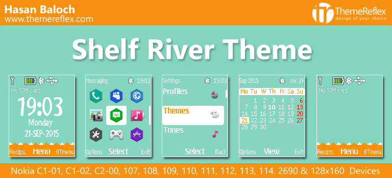 Shelf River Theme for Nokia C1-01, C1-02, C2-00, 107, 109, 110, 112, 2690 & 128×160 Device