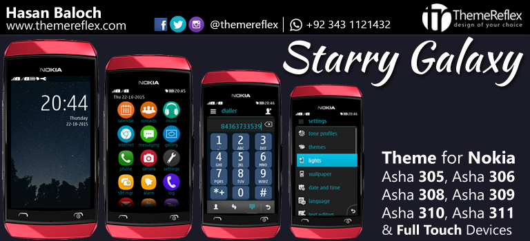 Starry Galaxy Theme for Nokia Asha 305, Asha 306, Asha 308, Asha 309, Asha 310, Asha 311