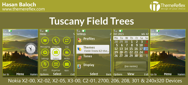 Tuscany Field Trees Theme for Nokia X2-00, C2-01, 206, 208, 301 & 240×320
