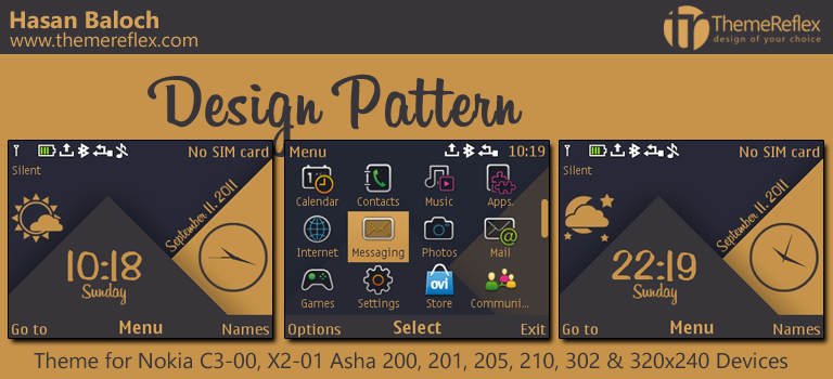 Design Pattern Live Theme for Nokia C3-00, X2-01, Asha 200, 201, 205, 210, 302 & 320×240 Devices