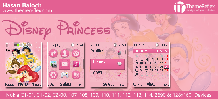 Disney Princess Theme for Nokia C1-01, C1-02, C2-00, 107, 108, 109, 110, 111, 112, 2690 & 128×160