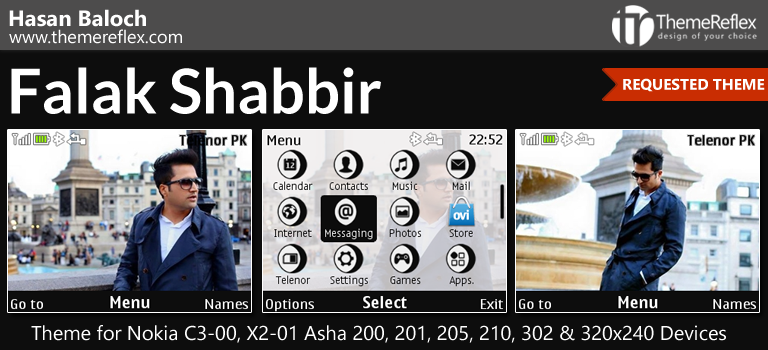 Falak Shabbir Animated Theme for Nokia C3-00, X2-01, Asha 200, 201, 205, 210, 302 & 320×240