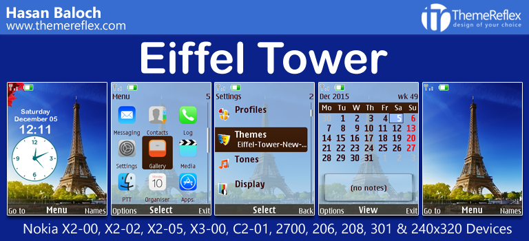 Eiffel Tower Theme for Nokia  X2-00, X2-02, X3-00, C2-01, 206, 208, 301, 2700 & 240×320