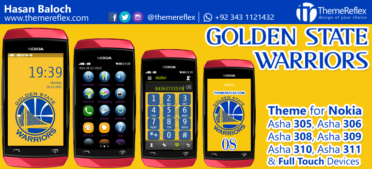 Golden State Warriors Theme for Nokia Asha 305, Asha 306, Asha 308, Asha 309, Asha 310, Asha 311