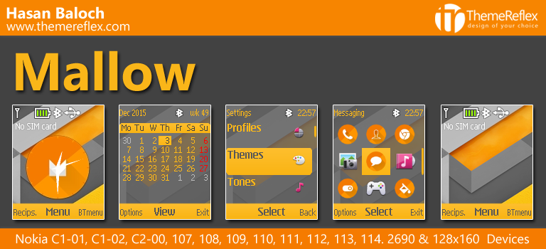 Mallow Theme for Nokia C1-01, C1-02, C2-00, 107, 108, 109, 110, 111, 112, 2690 & 128×160