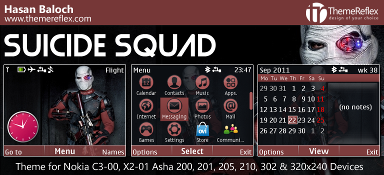 Suicide Squad Theme for Nokia C3-00, X2-01, Asha 200, 201, 205, 210, 302 & 320×240