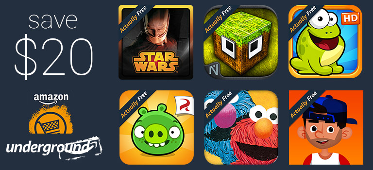 "Save $20 Get Free Apps And Games ""Actually Free"" From Amazon Underground Android Store"