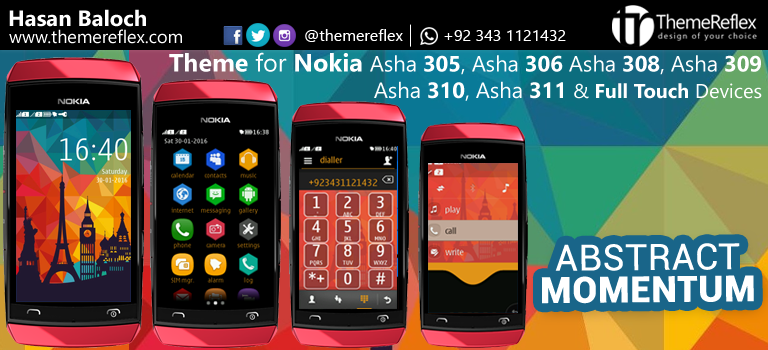 Abstract Momentum Theme for Nokia Asha 305, Asha 306, Asha 308, Asha 309, Asha 310, Asha 311