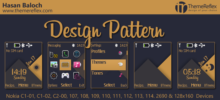 Design Pattern Theme for Nokia C1-01, C1-02, C2-00, 107, 109, 111, 2690 & 128×160 Devices