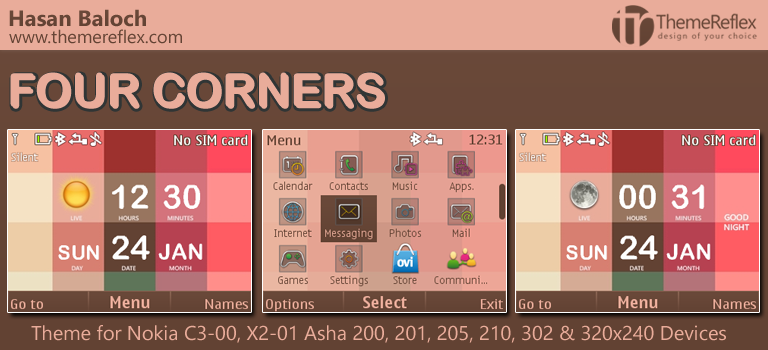Four Corners' Live Theme for Nokia C3-00, X2-01, Asha 200, 201, 205. 210, 302 & 320×240