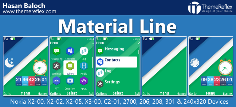 Material Line Theme for Nokia X2-00, X2-02, X2-05, X3-00, C2-01, 206, 208, 301 & 240×320