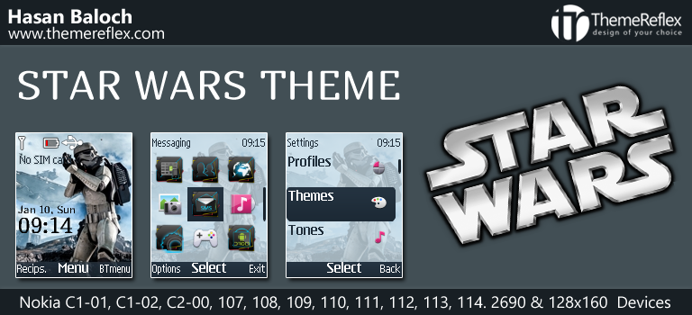Star Wars Theme for Nokia C1-01, C1-02, C2-00, 107. 108, 109, 110. 111, 112, 113, 2690 & 128×160 Devices