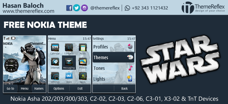 Star Wars Theme for Nokia Asha 200/ 202/ 300/ 303, C2-02, C2-03, C2-06, X3-02, C3-01
