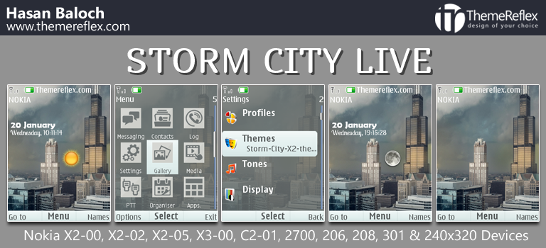 Storm City Live Theme for Nokia X2-00, X2-02, X2-05, X3-00, 206, 208, 301, 2700 & 240×320