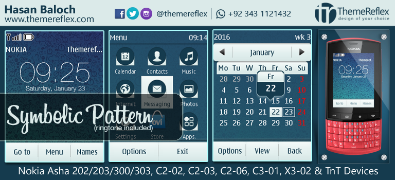 Symbolic Pattern Theme for nokia Asha 202/ 203/ 300/ 303, C2-02, C2-03, C2-06, C3-01, X3-02 & TnT