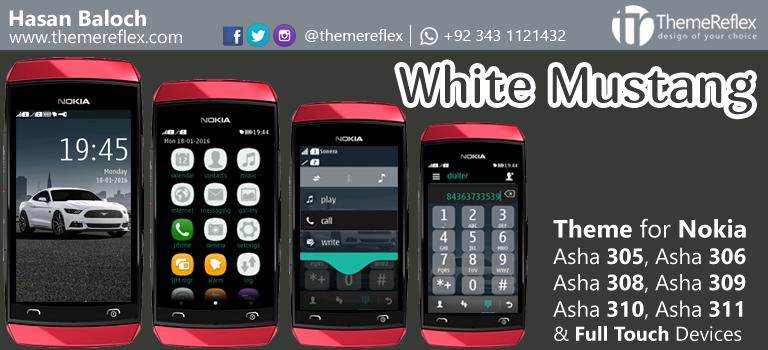 White Mustang Theme for Nokia Asha 305, Asha 306, Asha 308, Asha 309, Asha 310, Asha 311