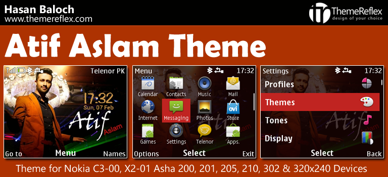 Atif Aslam Theme for Nokia C3-00, X2-01, Asha 200, 201, 205, 210, 302 & 320×240