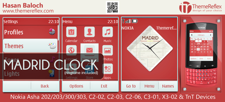 Madrid Clock Theme for Nokia Asha 202/ 203/ 300/ 303, C2-02, C2-03, C2-06, C3-01, X3-02 & TnT