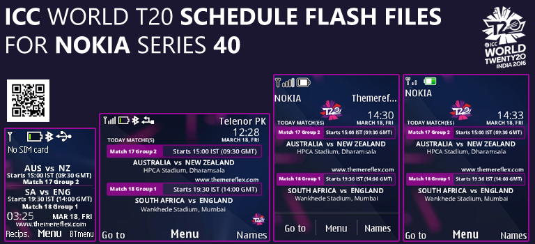 ICC World T20 2016 Schedule Flash Files for Nokia Series 40 Devices