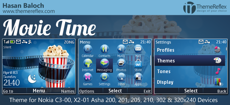 Movie Time Live Theme for Nokia C3, X2-01, Asha 200, 201, 205, 210, 302 & 320×240