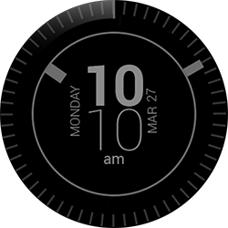 Simple Black 12hrs watch face for Samsung GearS2 and GearS3