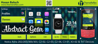 Abstract Gear Theme for Nokia Asha 202/ 203/ 300/ 303, C2-02, C2-03, C2-06, C3-01,X3-02 Touch & Type