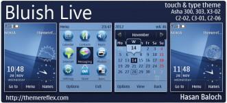 Bluish Live Theme for Nokia Asha 300/303, X3-02, C2-06, Touch & type