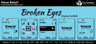 Broken Eyes Live Theme for Nokia C1-01, C2-00, 107, 109, 110, 112, 113 & 128×160