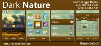 Dark Nature Live Theme for Nokia Asha 202/300/303, X3-02, C2-02, C2-03, C2-06, C3-01, touch & type devices