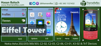 Eiffel Tower Theme for Nokia Asha 202/ 203/ 300/ 303, X3-01, C2-02, C2-03, C2-06 and Touch & Type