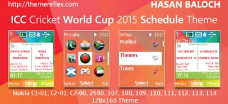 ICC Cricket World Cup Schedule Theme for Nokia C1-01, C1-02, C2-00, 107, 108, 109, 110, 111, 112, 113, 114, 2690 & 128×160 Devices