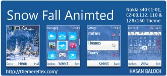 Snow Fall Animated Theme for Nokia C1-01, C2-00, 110, 112 & 128×160