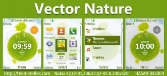 Vector Naure Live Theme for Nokia X2-00, X2-02, X2-05, X3-00, C2-01, 206, 208, 301, 2700 & 240×320 Devices