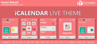 iCalendar Live Theme for Nokia C1-01, C1-02, C2-00, 107, 108, 109, 110, 111, 112, 113, 114, 2690 & 128×160 Devices